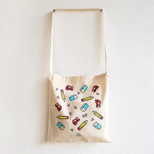 Stationery Silk Screen Print on Light Cotton Crossbody Bag