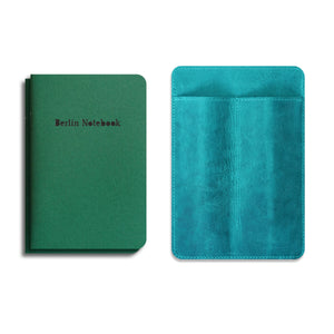 """Pen & Notebook Leather Cover"" + 2-pack of Berlin Notebook Green Edition gift set"
