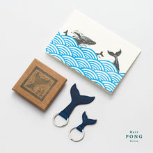 Load image into Gallery viewer, The Whale Tail Leather Keychain Pair (1 Big + 1 small )  + Linocut Greeting Card