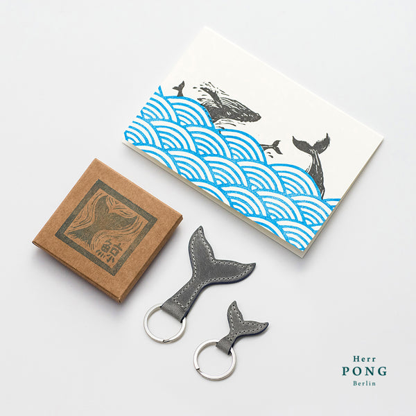 The Whale Tail Leather Keychain Pair (1 Big + 1 small )  + Linocut Greeting Card