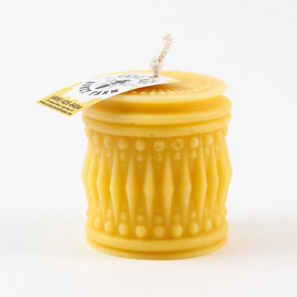 Crystal Bee Cylinder 100% Pure Beeswax Candle