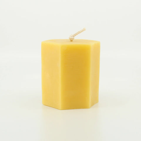 Short Hex Candle 100% Pure Beeswax