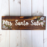 Black and White Floral Teacher Desk Sign - Teacher Gift -Classroom name plate - Office Desk