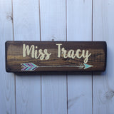 boho arrow teacher desk sign