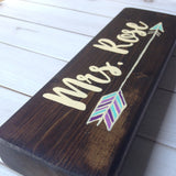boho arrow teacher desk sign angled