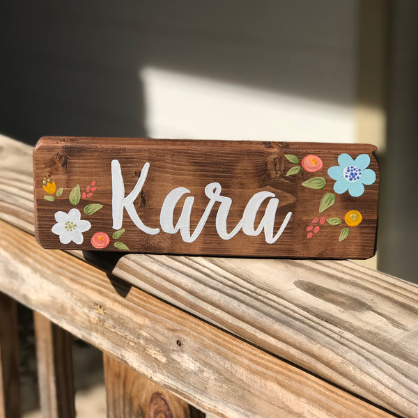 floral teacher or office desk nameplate sign