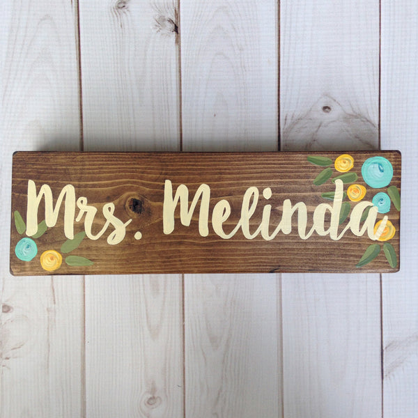 aqua and yellow floral desk sign