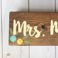 aqua and yellow floral teacher desk sign