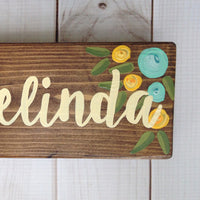 floral desk sign hand painted aqua and yellow flowers