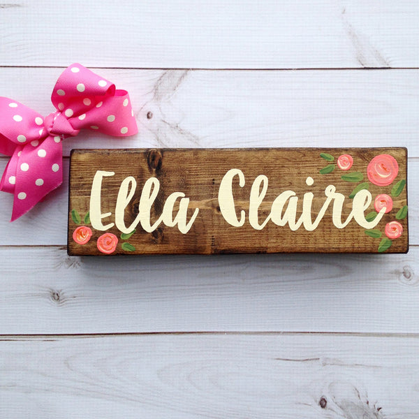 Teacher Desk Sign with Coral Flowers - Teacher Desk Sign - Teacher Gift - Office Desk Decor