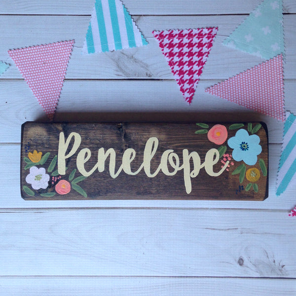 floral name plate desk sign