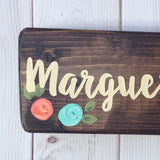 hand painted floral aqua and coral wooden desk sign