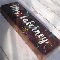 wooden teacher name sign
