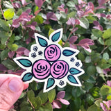 Pink and creamy yellow Floral Vinyl Sticker Decal