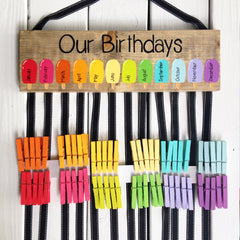 Rainbow Popsicle Classroom Birthday Chart with Painted Clothespins