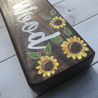 sunflower hand painted wooden desk sign