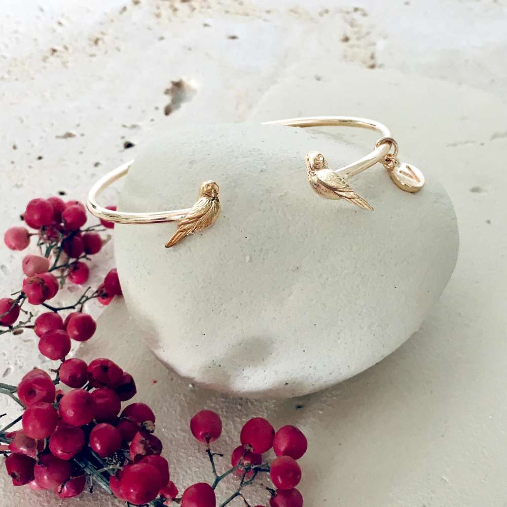 Bamboo Vera - Gold Love Bird Bangle