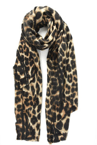 Brown Leopard Blanket Scarf