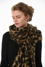 Load image into Gallery viewer, Brown Leopard Blanket Scarf