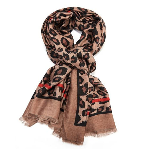 Leopard Print Scarf with Taupe Border
