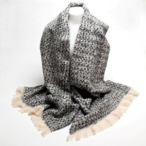 Tweed Effect Scarf-Black