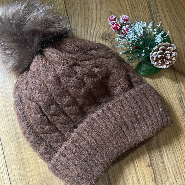 Pom Pom Hat - Brown