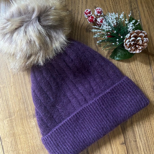 Pom Pom Hat - Purple