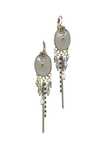 Gorgeous drop earrings grey/gold enamel with french hook. Style with your delicate pieces