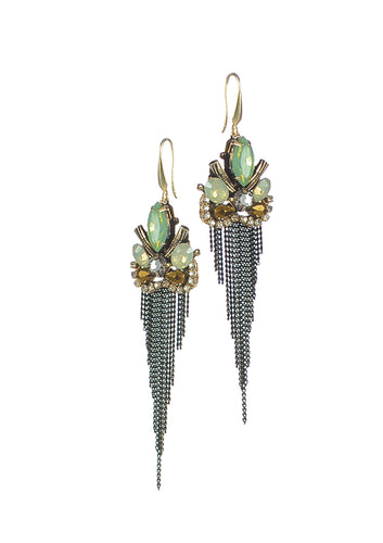 Stunning earrings with a cluster of green and amber beads and beautiful fringe detailing