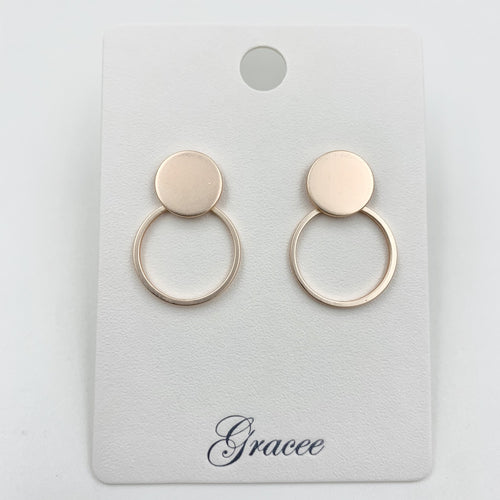 Rose Gold Double Disc Earrings