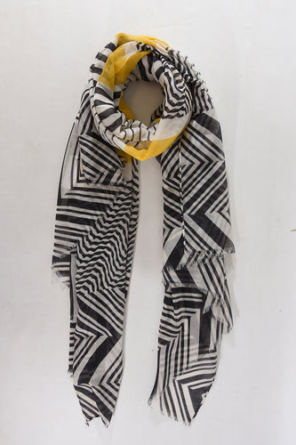 black and white geometric print scarf with flash of mustard