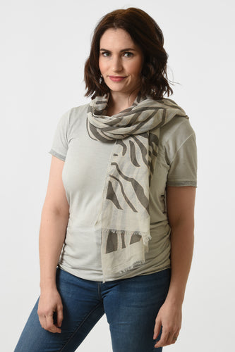 Lightweight zebra print scarf in pretty rose gold colour scheme with metallic detailing