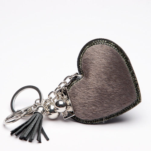 Heart Bag Charm-Grey