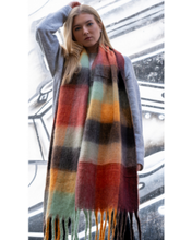 Load image into Gallery viewer, Orange Mix Check Blanket Scarf