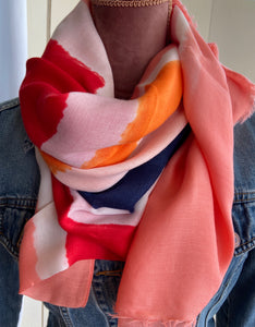 Colour Block Scarf - Red