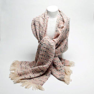 Tweed Effect Scarf-Pink