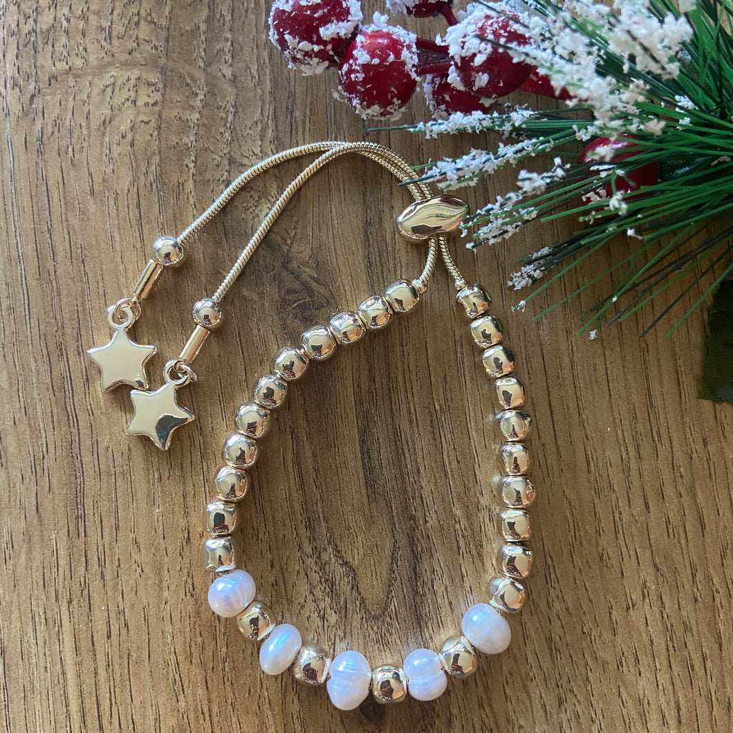 Pearl Friendship Bracelet-Gold