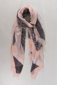 Pink and grey colour block scarf with contrasting border and leopard print detail. A gorgeous variation on the ever popular leopard print!