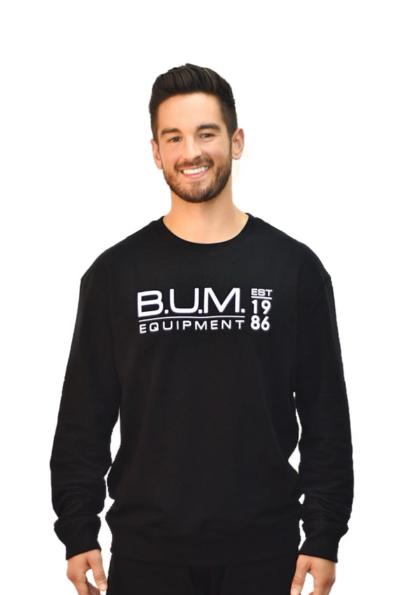 B.U.M. French Terry Crew- Black