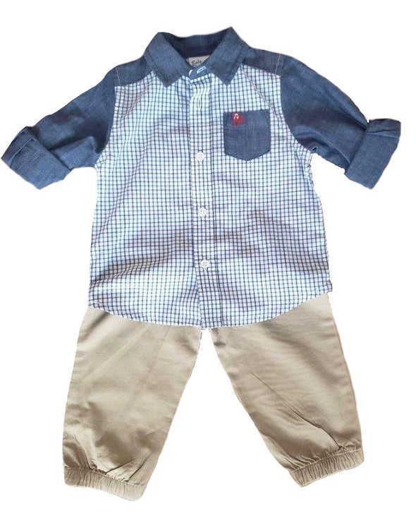 Two-Toned Plaid Infant Set