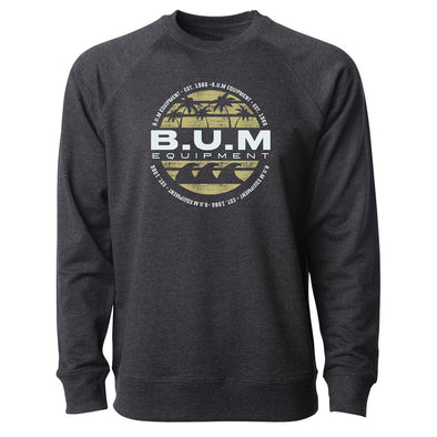 Palm Tree B.U.M. Crewneck Sweatshirt - Dark Grey