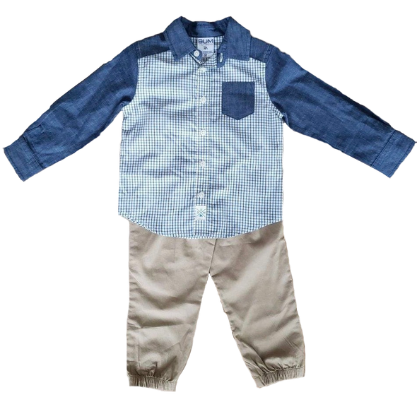 Two-Toned Plaid Toddler Set