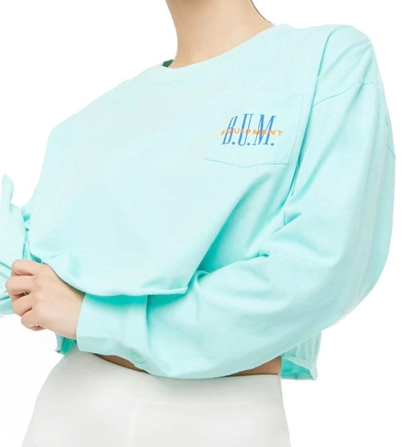 Mint B.U.M. Equipment Long Sleeve Crop Top