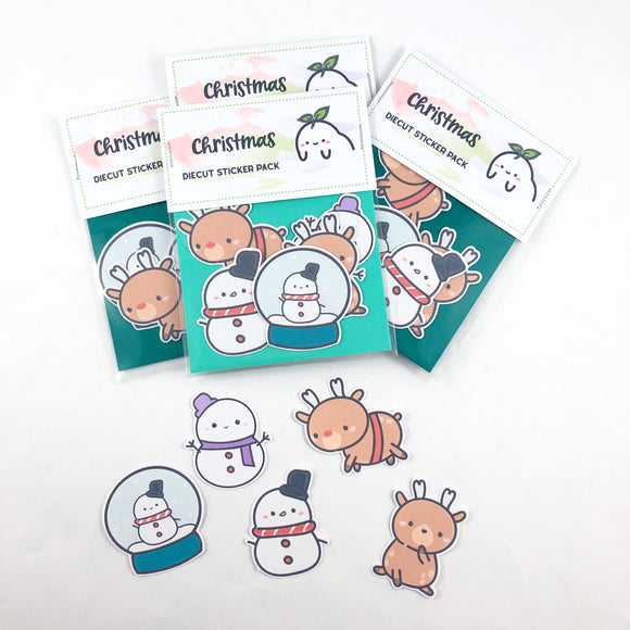 (D0015) Kawaii Snowmen and Reindeer Sticker Set Bundle