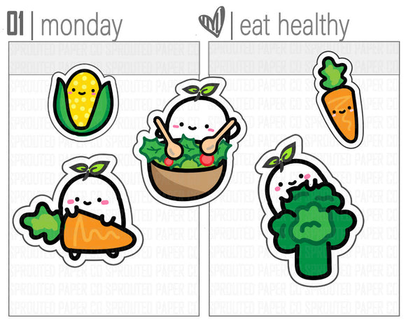 (S0109) Eat Healthy Stickers