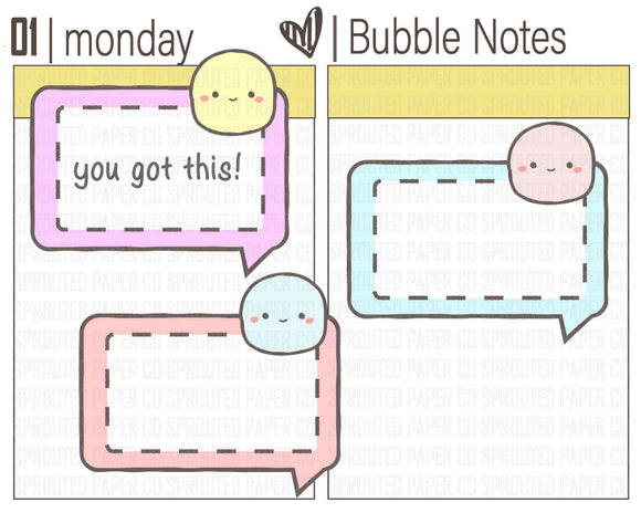 (B0051) Bubble Notes Stickers {Functional}