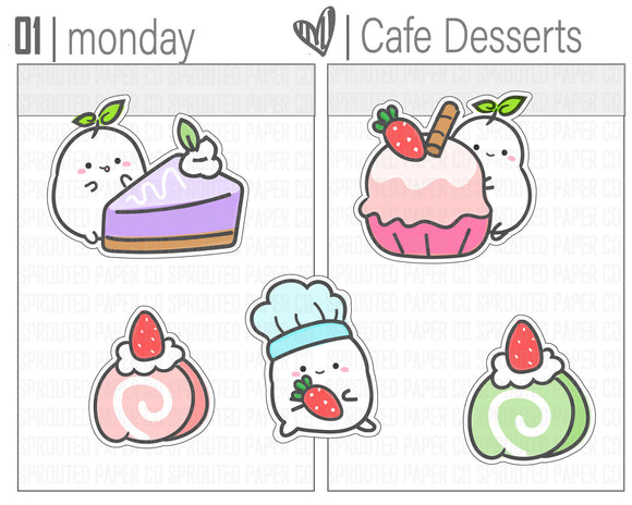(S0154) Kawaii Cafe Dessert Stickers