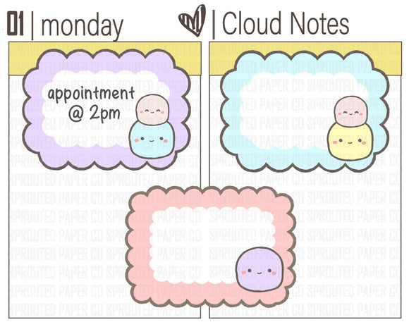 (B0052) Cloud Note Stickers {Functional}