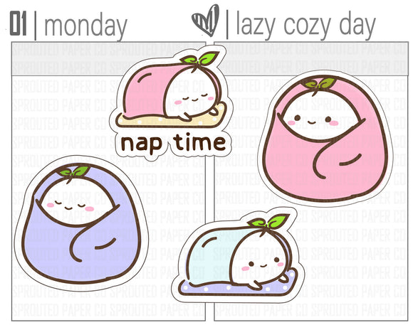 (S0148) Stay Lazy and Cozy Stickers