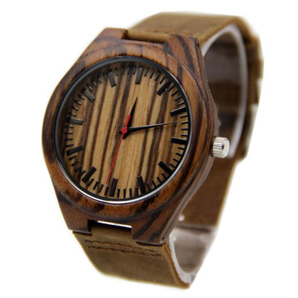 Wooden Watch Bamboo Leather Wristband Precise Movement